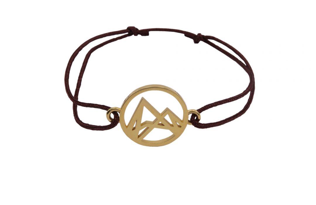 Höhenlinien Armband Vergoldet Braun Verschiebeknoten