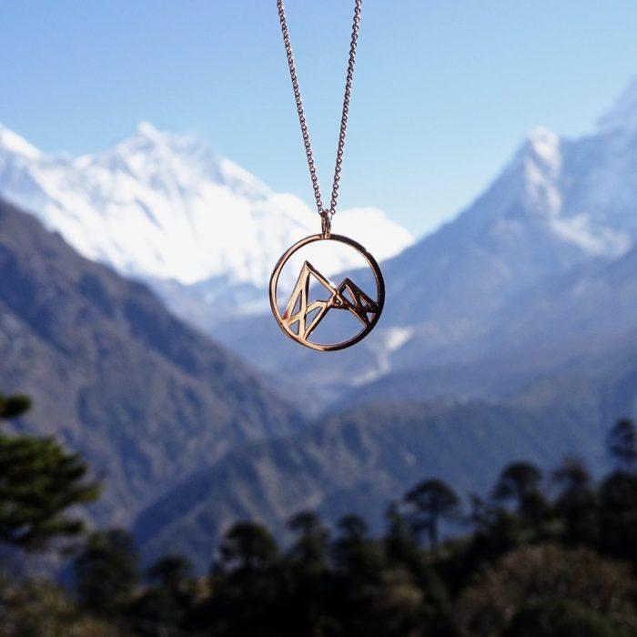 Höhenlinien Kette Rosévergoldet Nepal Quadratisch