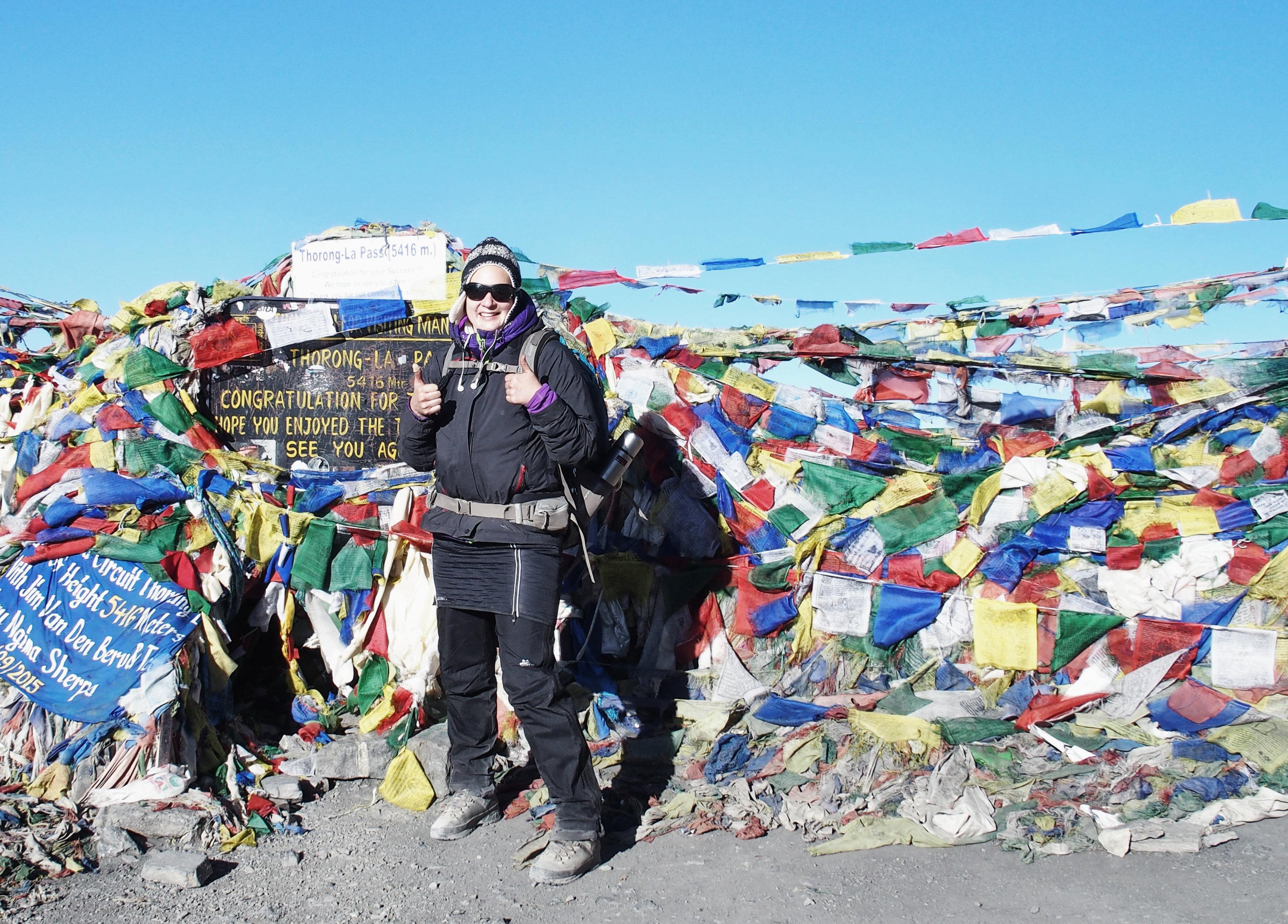 Yay! Geschafft auf 5416m zum Thorong La Pass - Annapurna Circuit Trekking