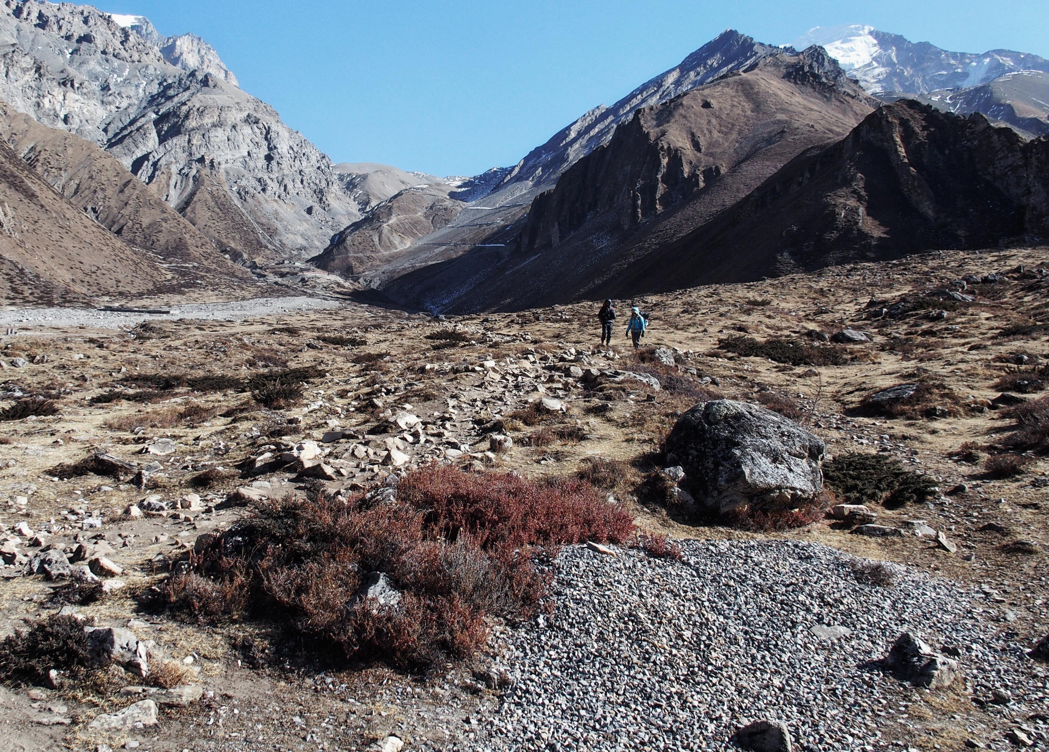 Der steilste Abstieg vom Thorong La Pass ist geschafft