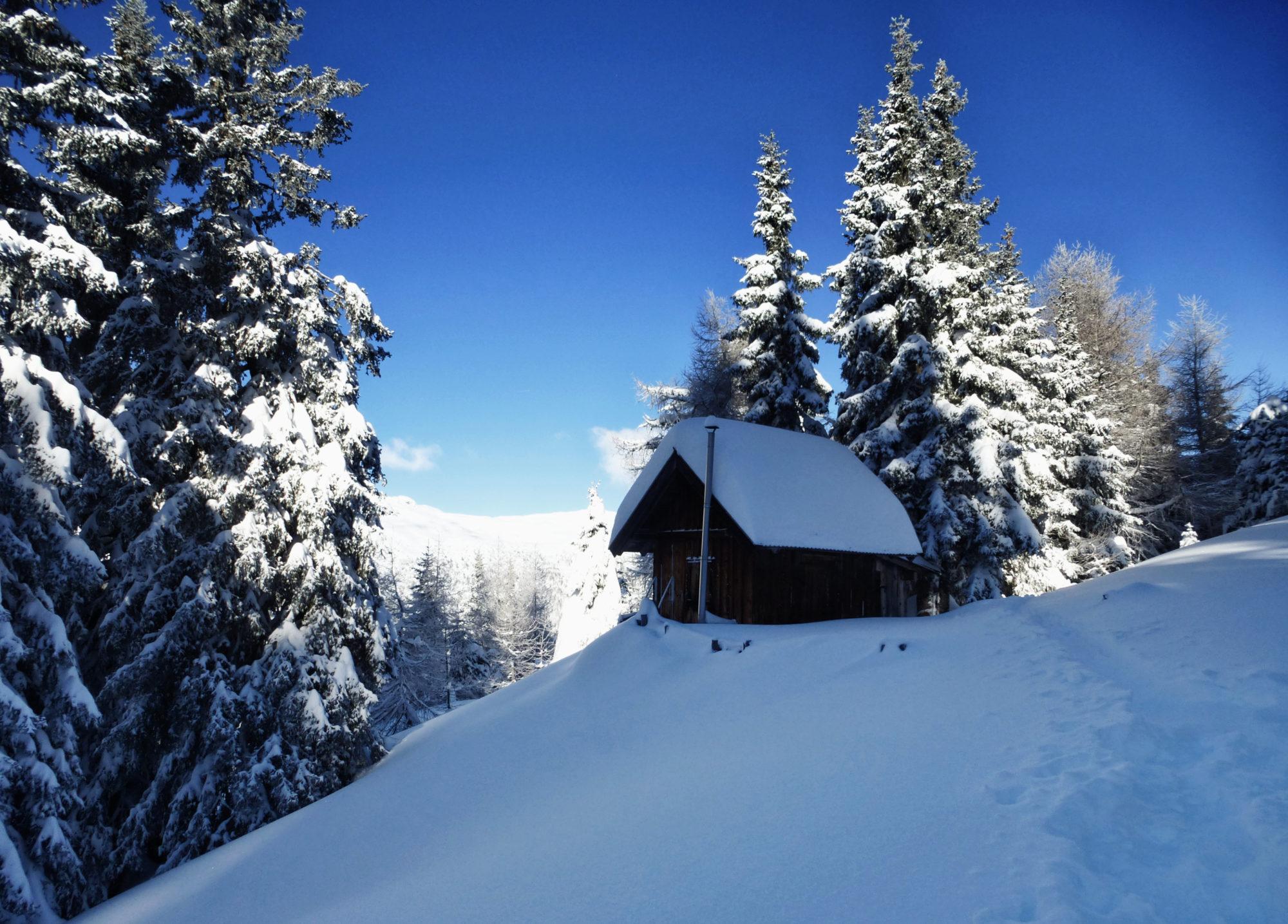 Schneeschuhwandern Pfad Hütte Sonne Bäume