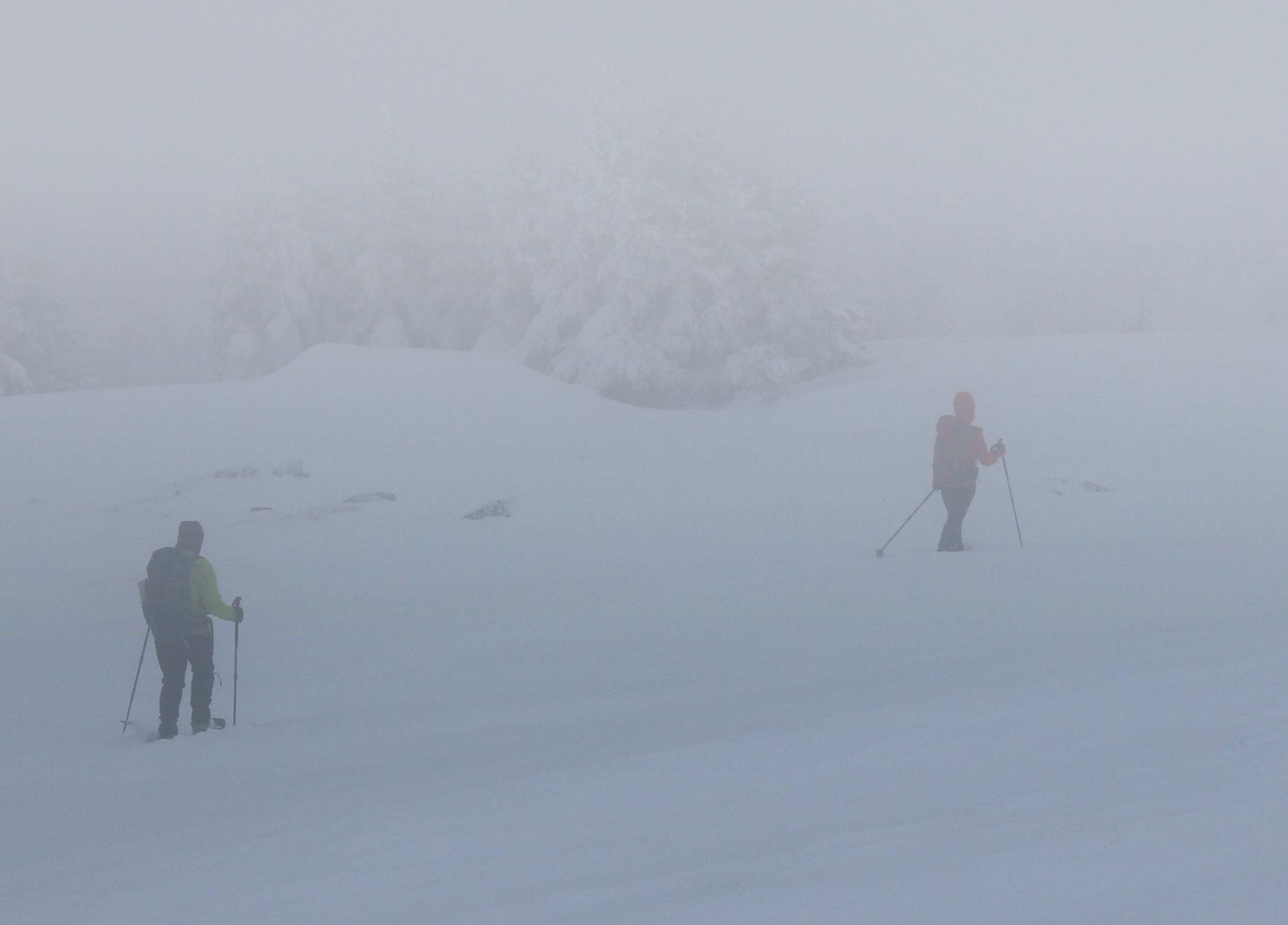 Schneeschuhwandern im Nebel