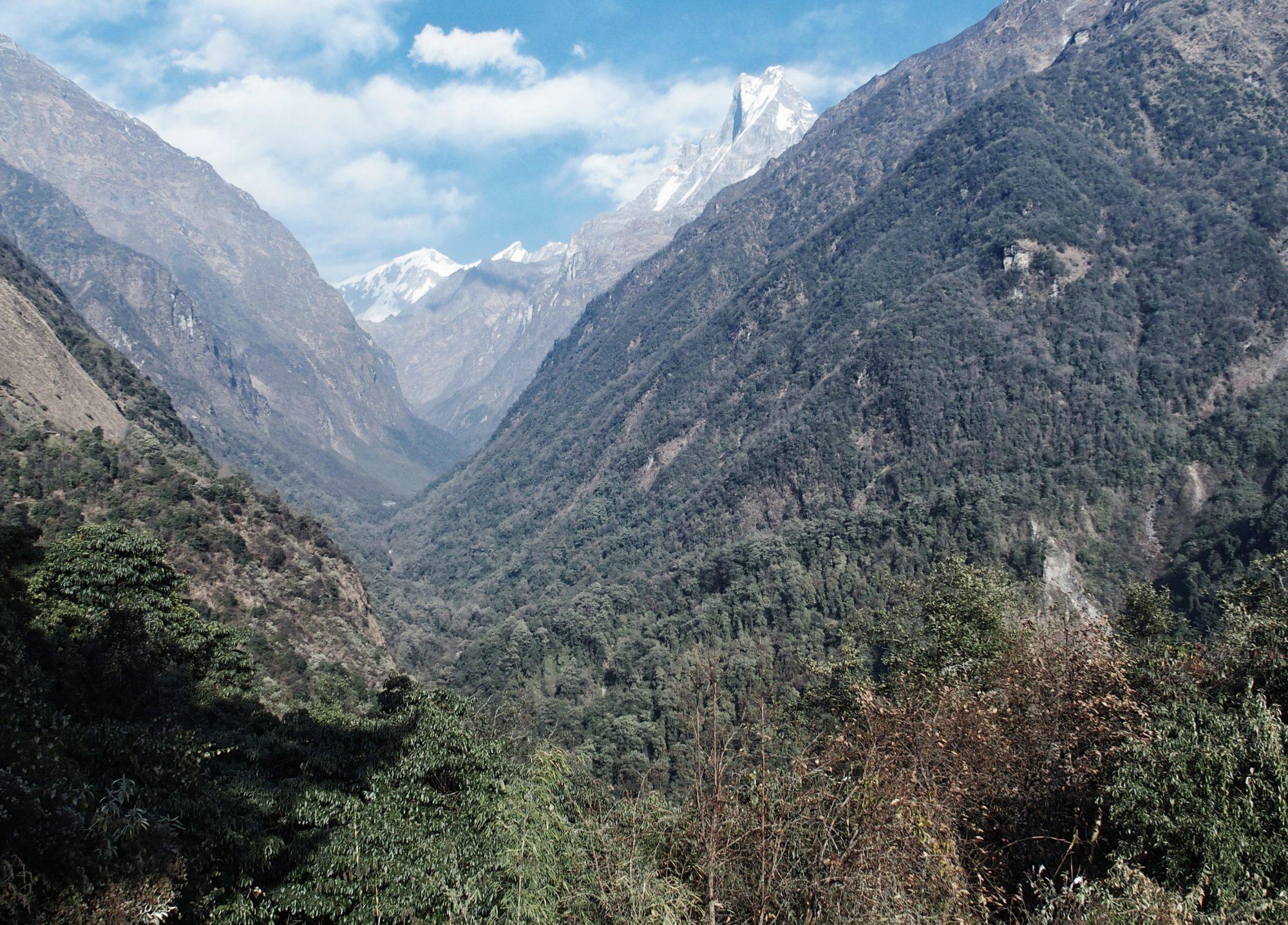 Ausblick auf den kommenden Trail (auf der linken Talseite) und Machapuchare