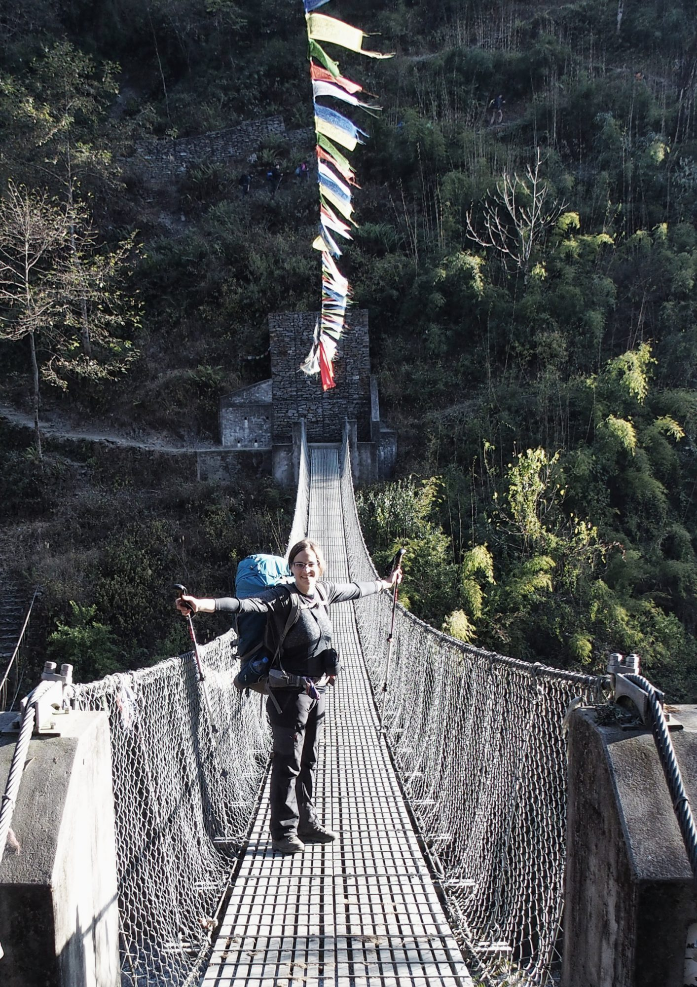 Hängebrücke beim Annapurna Trekking. Nepal