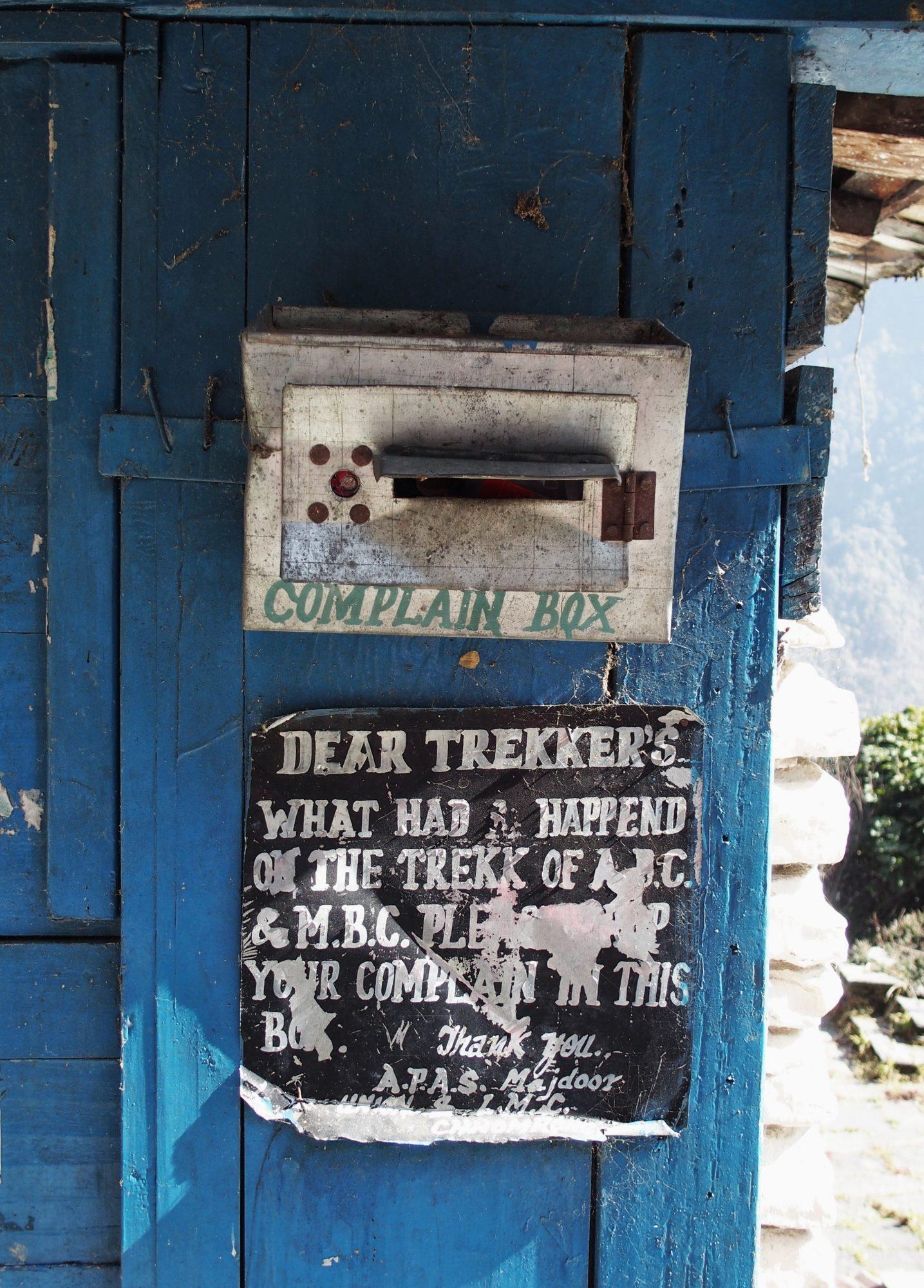 Beschwerdebox Annapurna Base Camp