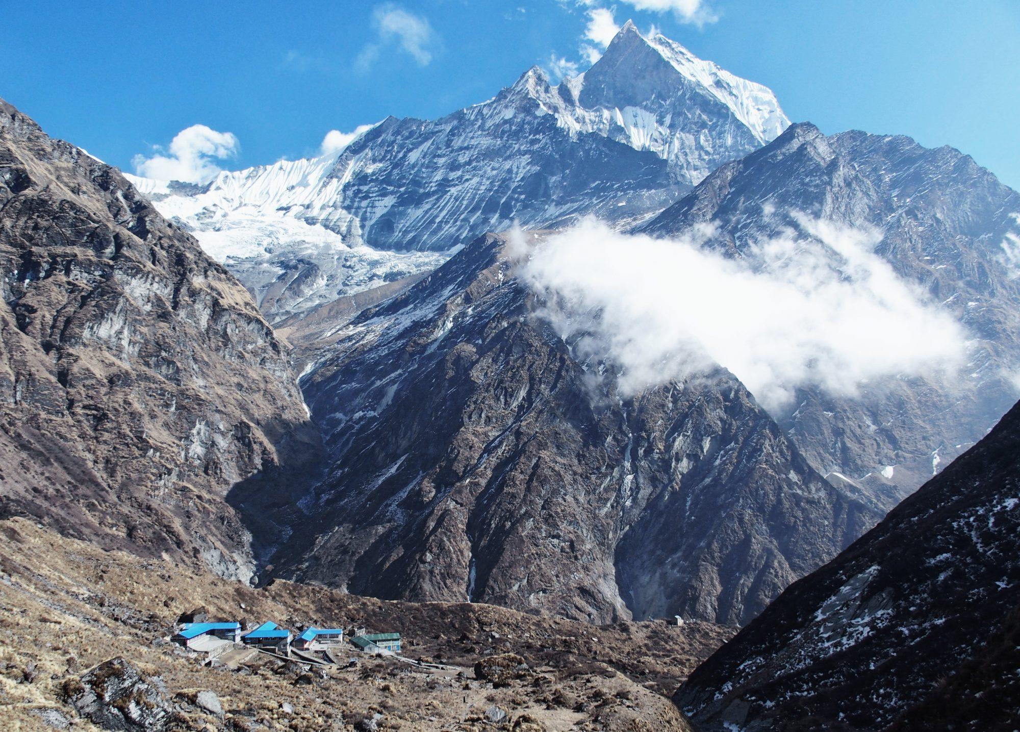 Blick zurück zum Machapuchare Base Camp Nepal