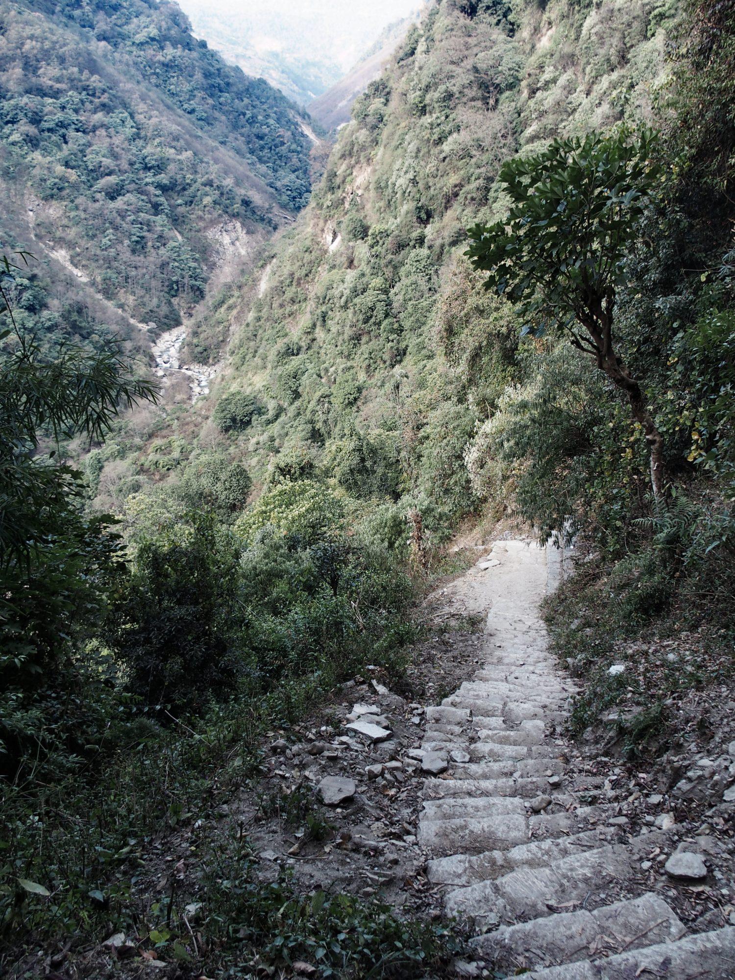 Treppen auf dem Annapurna Base Camp Trek