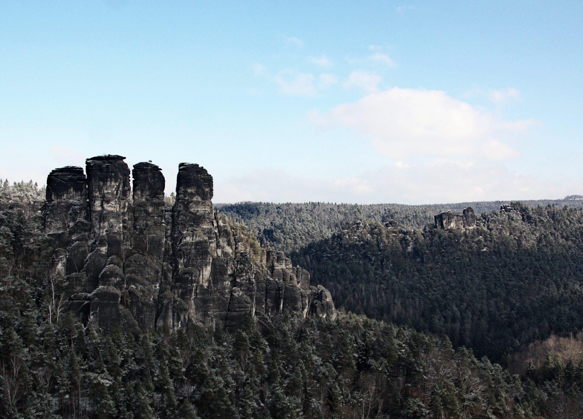 Sächsische Schweiz, Elbsandsteingebirge, Bastei, Basteibrücke, Rathen, Winter, Wandern