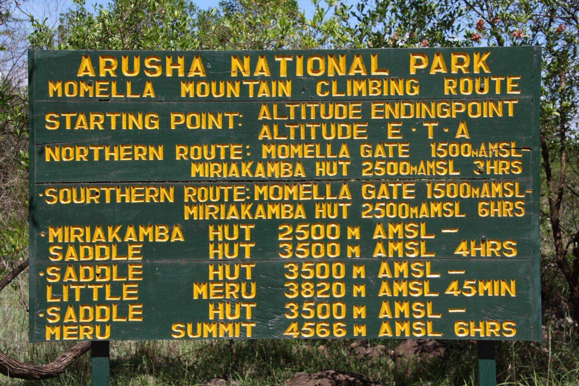 Arusha Nationalpark Guidelines, Höhenangaben