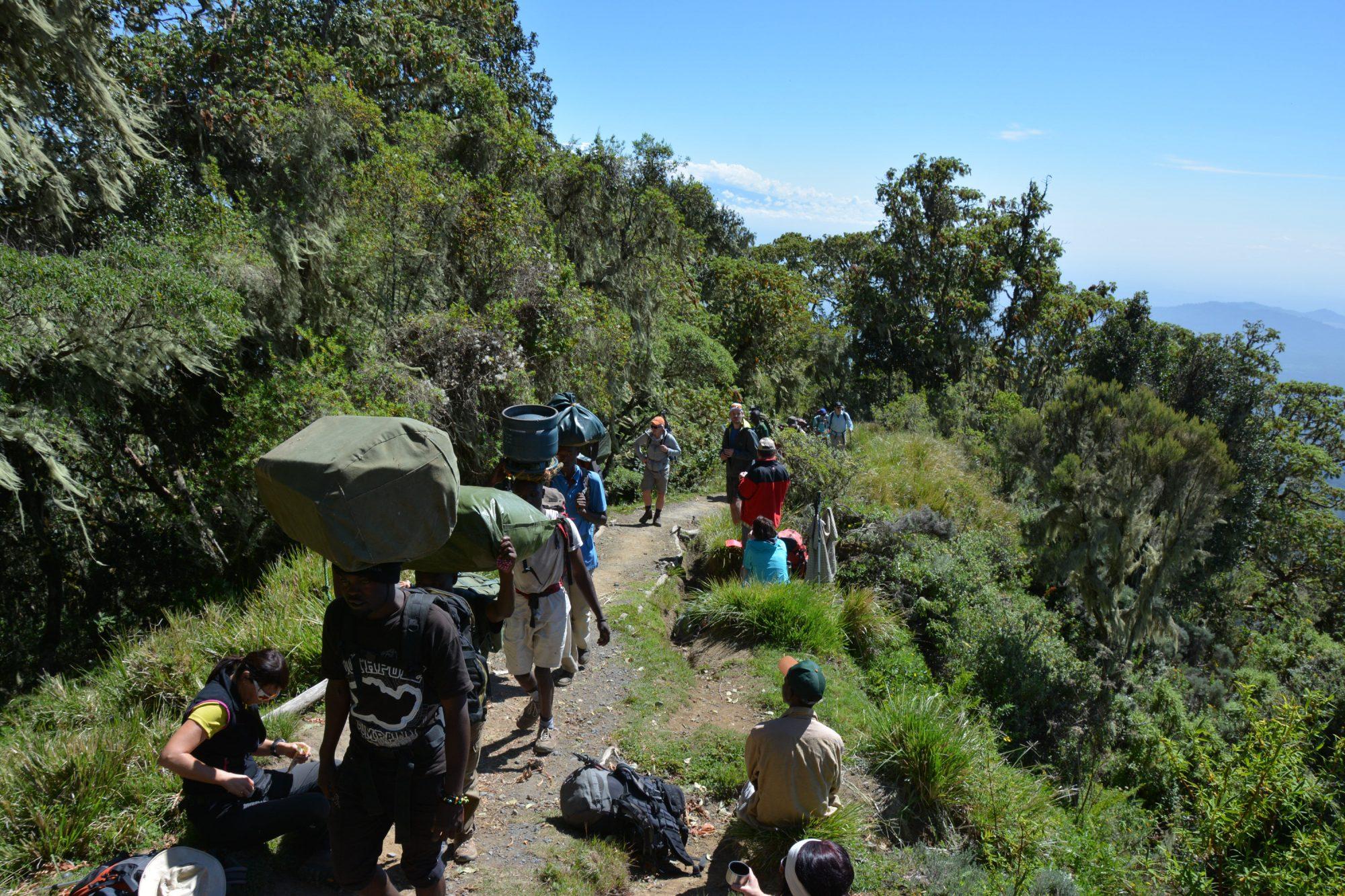 Träger am Mount Meru, Tansania, Afrika