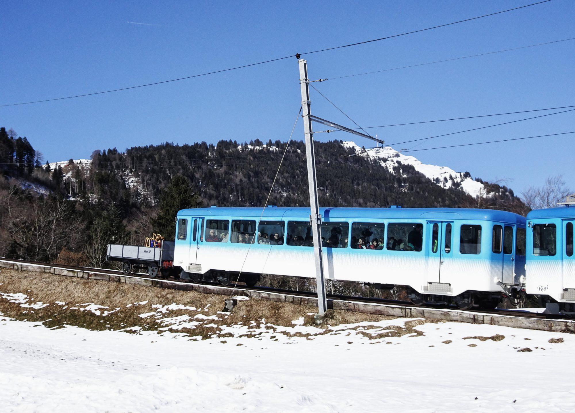 Schweiz, Luzern, Zürich, Rigi, Winterwanderung, Rigibahn, Zahnradbahn