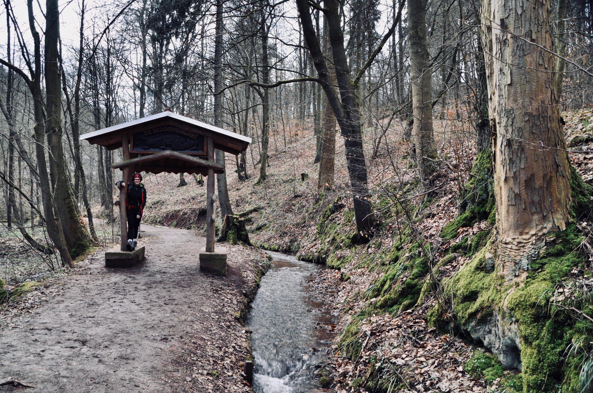 Der Eingang der Drachenschlucht bei Eisenach, Thüringen, Deutschland, Lieblingstour, Fjella, Wanderroute, Wanderung