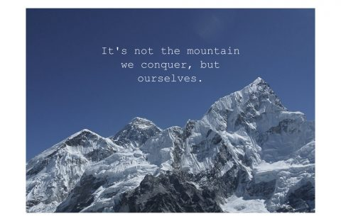 It's not the Mountains we conquer but ourselves, Postkarte, Grußkarte