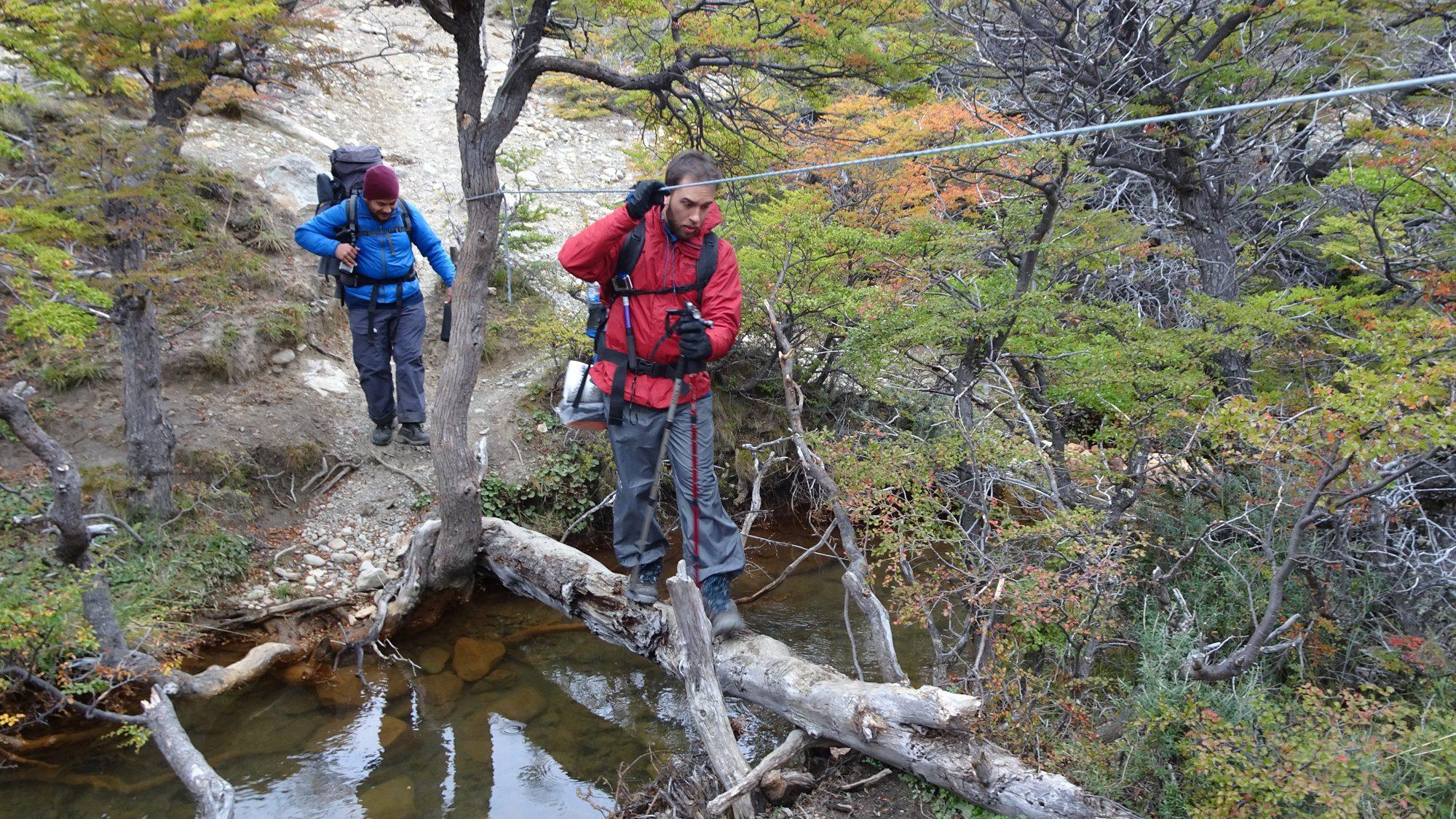 Flussüberquerung auf Baum, Huemul Circuit, El Chaltén, Patagonien, Argentinien, Wanderung, Trekking