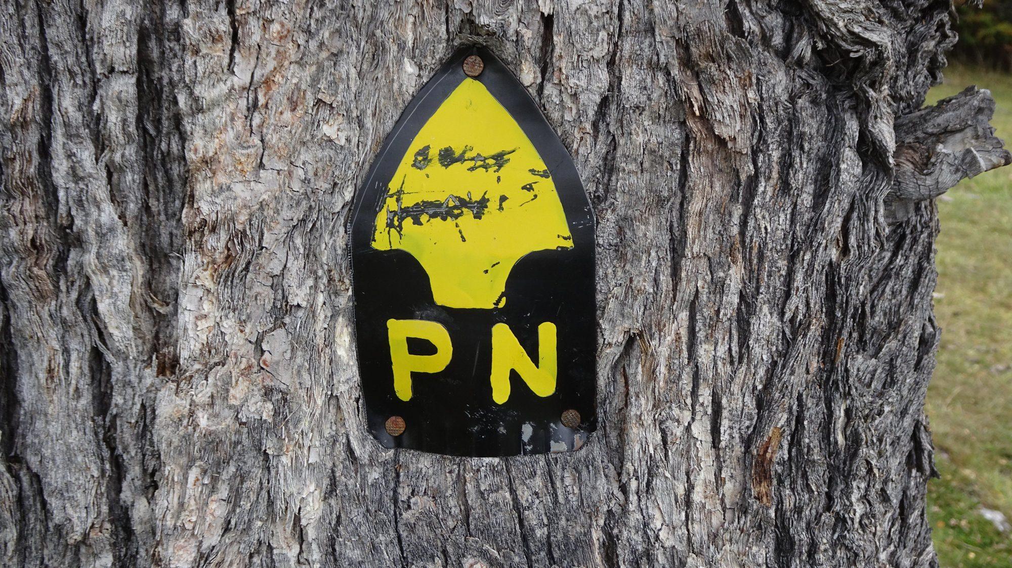 Wegmarkierung Huemul Circuit, El Chaltén, Patagonien, Argentinien, Wanderung, Trekking