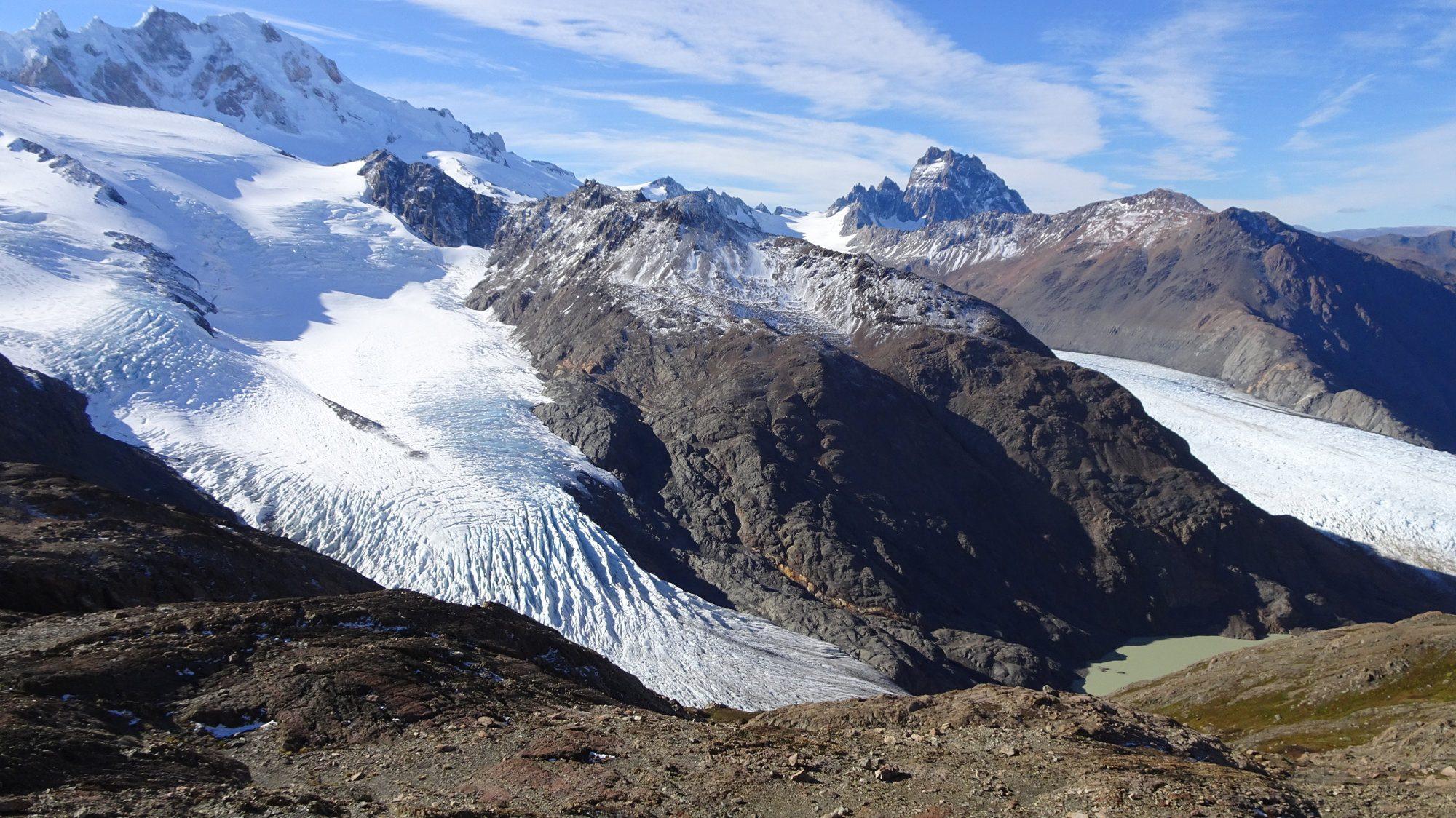Río Túnel Inferior und Superior auf einen Blick, Huemul Circuit, El Chaltén, Patagonien, Argentinien, Wanderung, Trekking