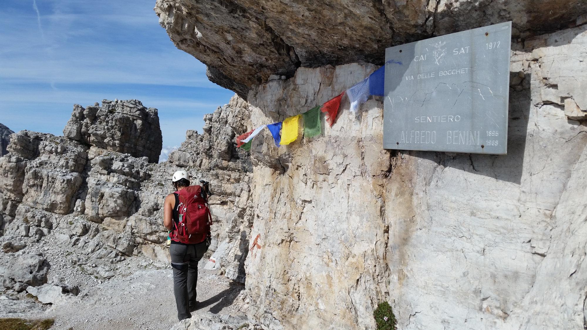 Start des Sentiero Benini, Brenta, Klettersteig, Dolomiten