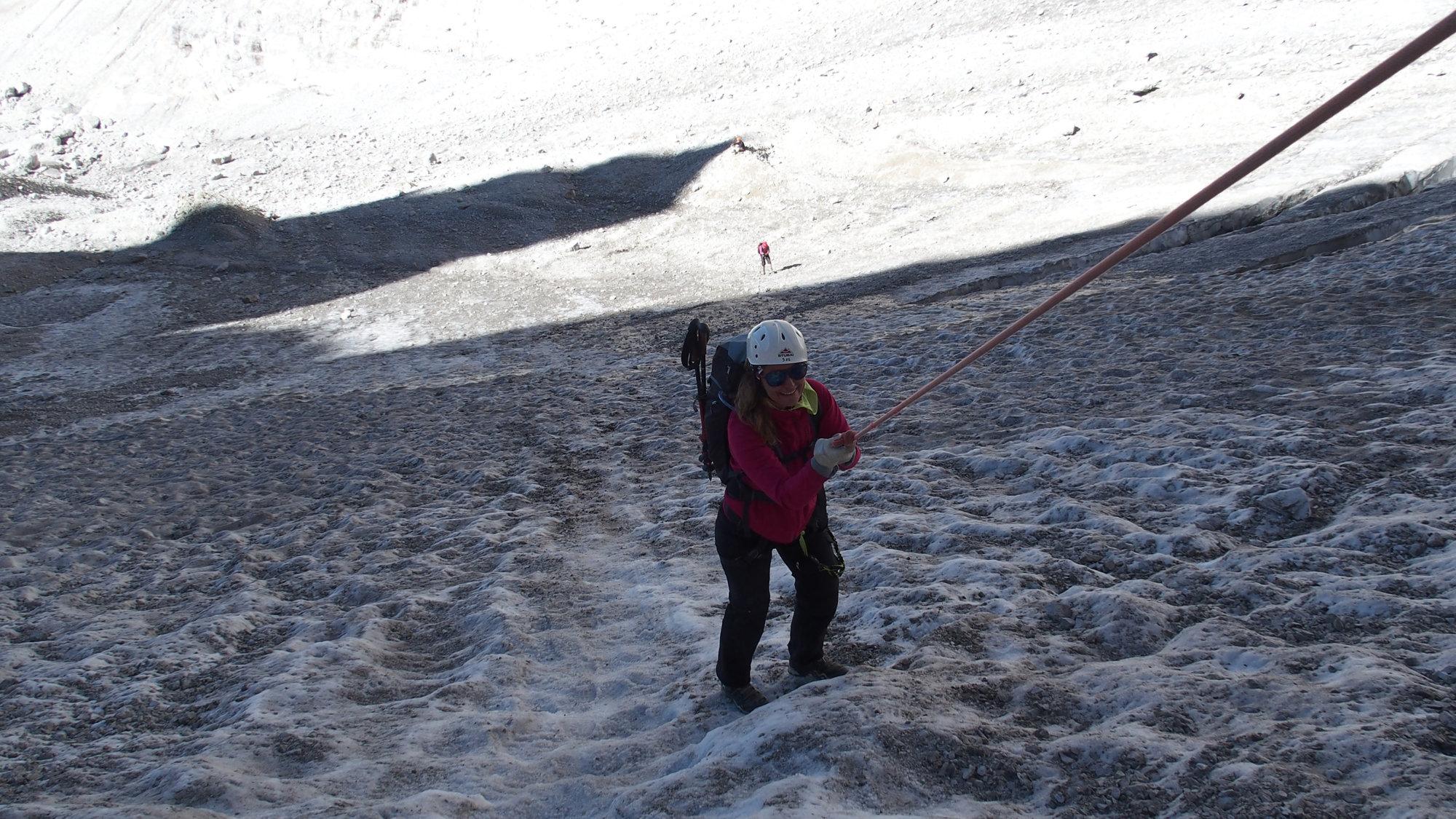 Abseilen über den Gletscher, Brenta, Klettersteig, Dolomiten