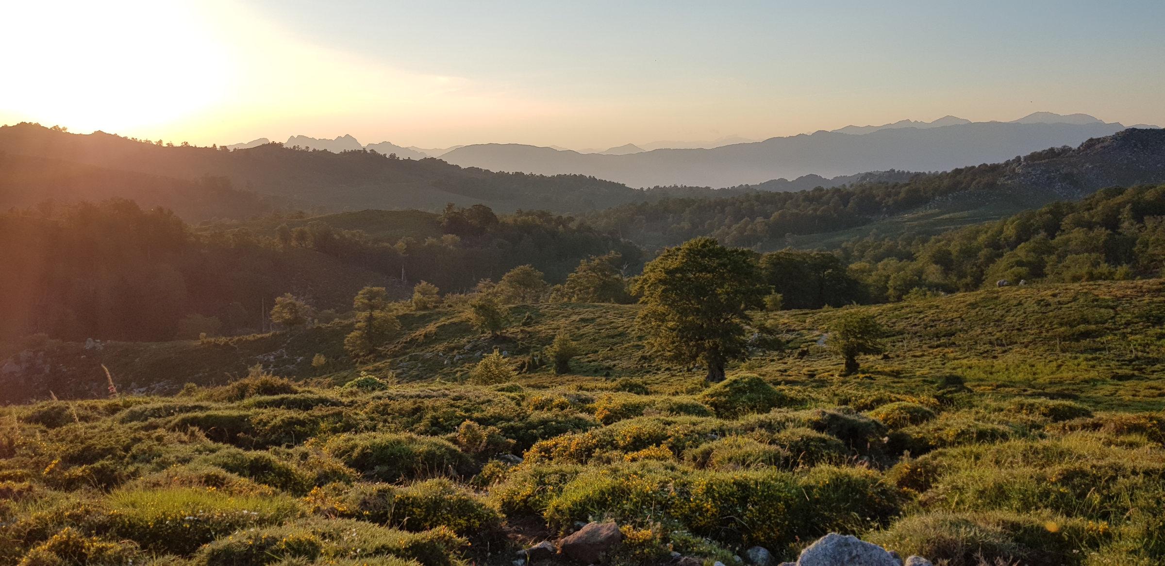 Abendstimmung an der Bergerie de Croci, Korsika, GR20 Weitwanderweg, Wandern, Berge, Frankreich