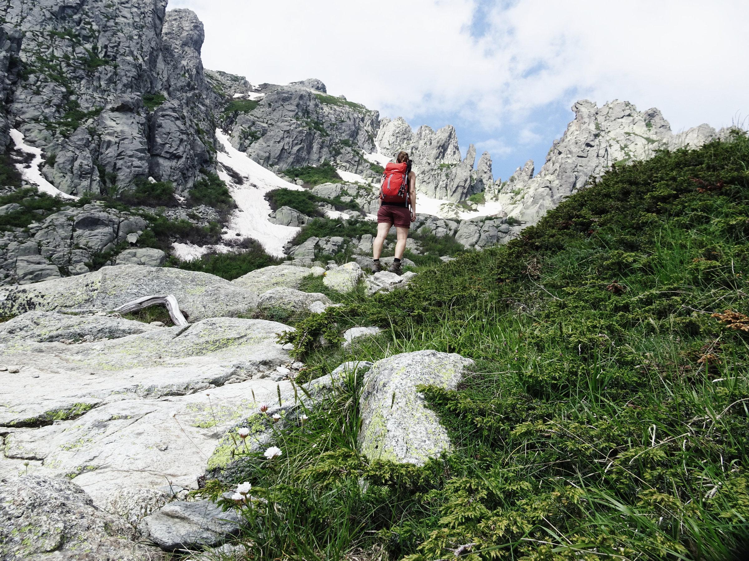 Auf dem Weg zum Gipfel des Monte d'Oro, Korsika, GR20 Weitwanderweg, Wandern, Berge, Frankreich