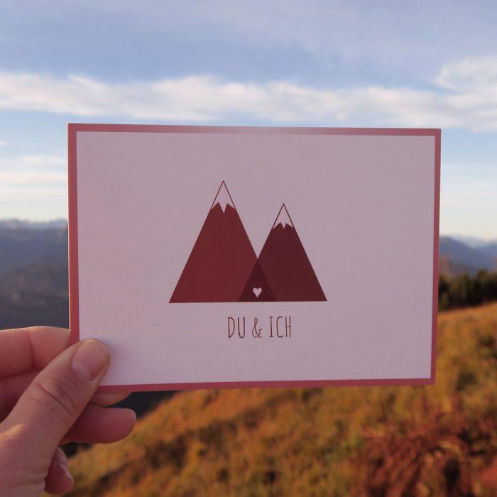 Du & Ich Postkarte Valentinstag Bergfans