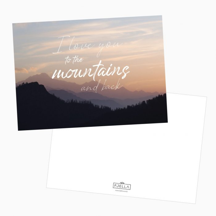 I love you to the mountains and back Postkarte Valentinstag Bergfans