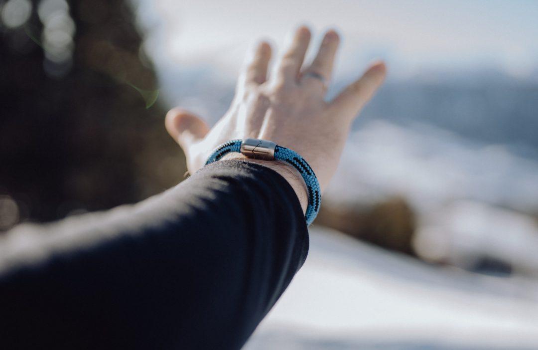 Fjella Bergseil Armband Einfachseil Steinbock, Armband blau schwarz, Magnetverschluss, Berge