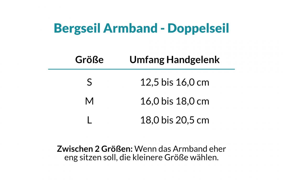 Größentabelle Bergseil Armband Doppelseil