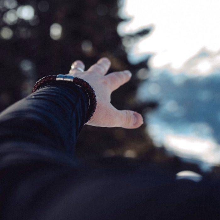 Bergseil Armband Einfachseil Leder Haselhuhn Model (1)