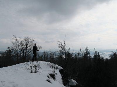 Große Kanzel im Winter, Felswandergebiet Bayerischer Wald, Schneeschuhwandern im Bayerischen Wald