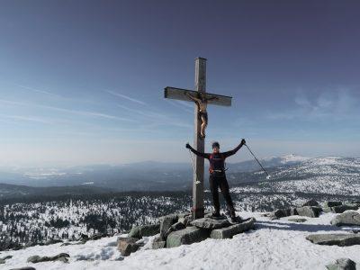 Auf dem Lusengipfel, Winterwanderung auf den Lusen, Schneeschuhwandern Bayerischer Wald