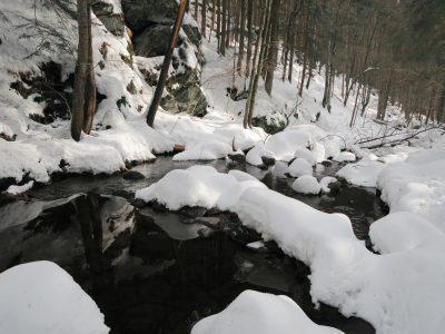 Steinklamm im Winter, Winterwandern durch die Steinklamm Schneeschuhwandern im Bayerischen Wald
