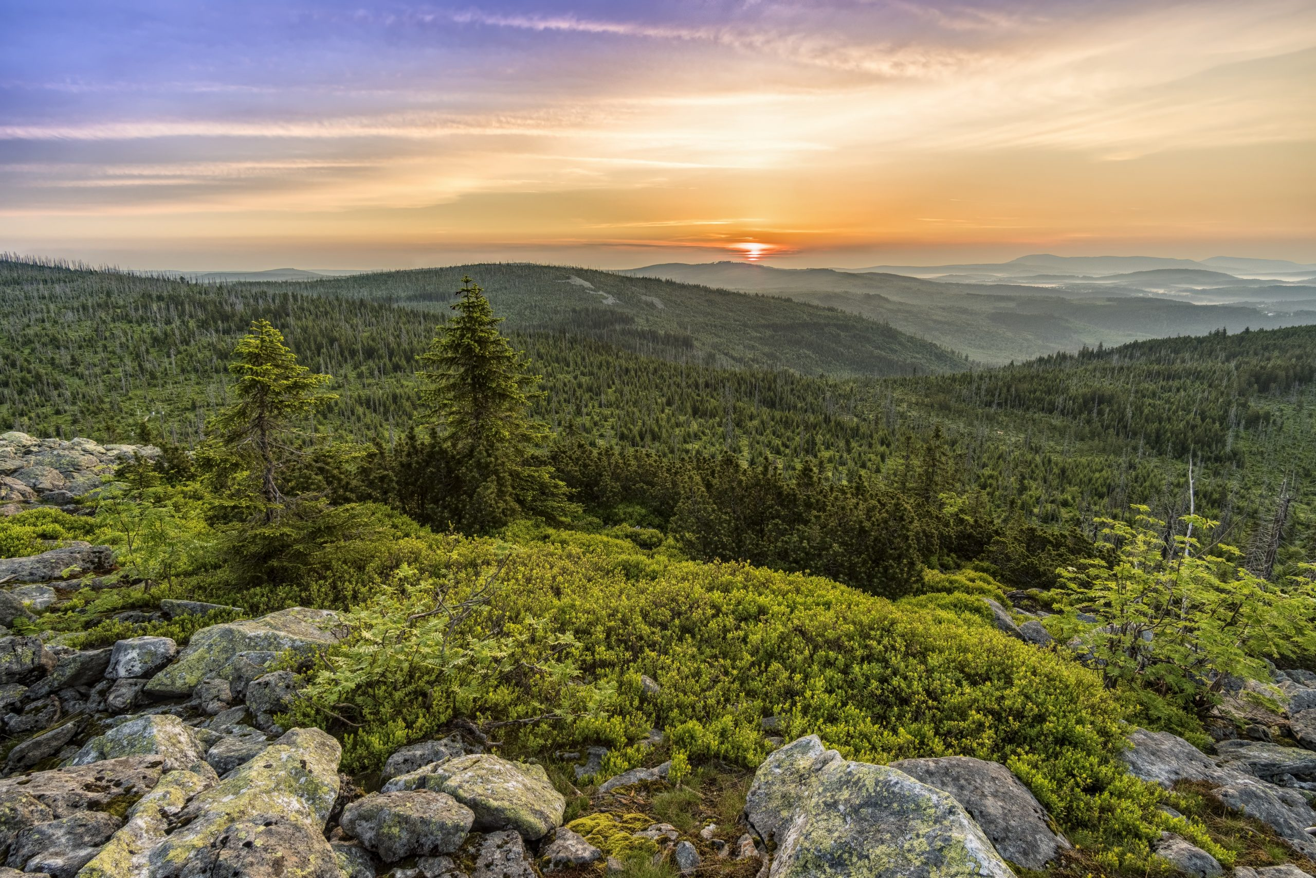 Sonnenuntergang im Bayerischen Wald, Goldsteig, Wandern im Frühling, Wanderideen Frühling, Wanderungen Frühling, Weitwanderweg Frühling