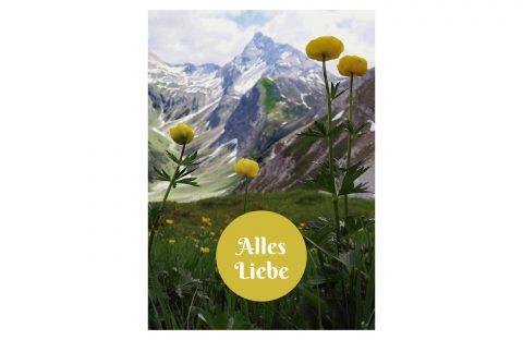 Bergpostkarte Alles Liebe für verschiedene Anlässe, Ostern, Muttertag, Geburtstag, Vatertag, Hochzeit, Geburt