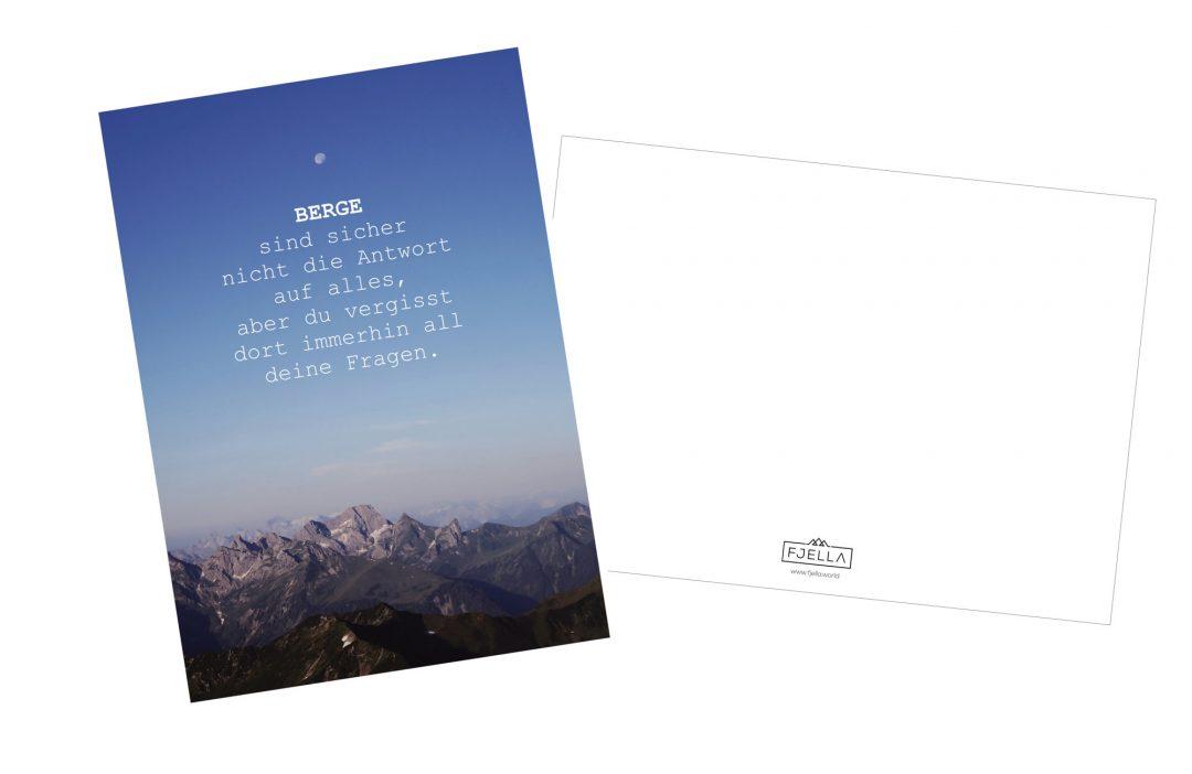 Bergpostkarte mit Spruch, Motivation, Inspiration, Spruch, Berge sind nicht die Antwort auf alles aber du vergisst dort all deine Fragen, Postkarte, Bergspruch
