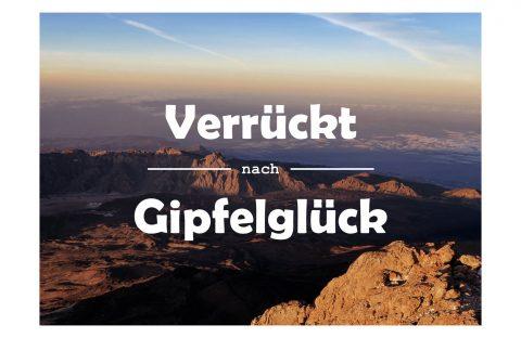 Postkarte Verrückt nach Gipfelglück, Bergpostkarte, Spruch, Postkarte mit Spruch, Bergfans