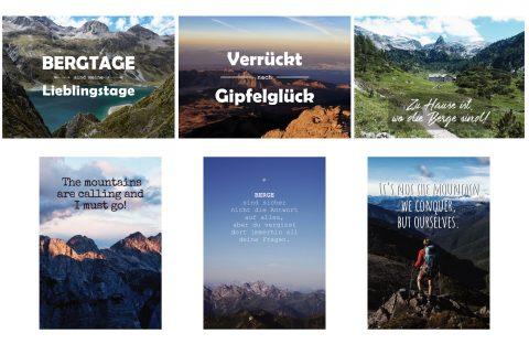 Postkartenset inspirierende Bergsprüche für alle Bergfans und Wanderer, Bergpostkarten als Set mit 6 verschiedenen Sprüchen