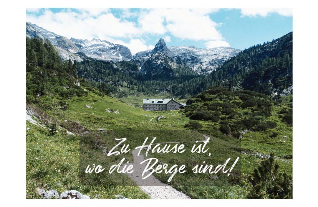 Bergpostkarte Zu Hause ist wo die Berge sind, Bergspruch, Postkarte, Spruch, Bergmotiv, Grußkarte