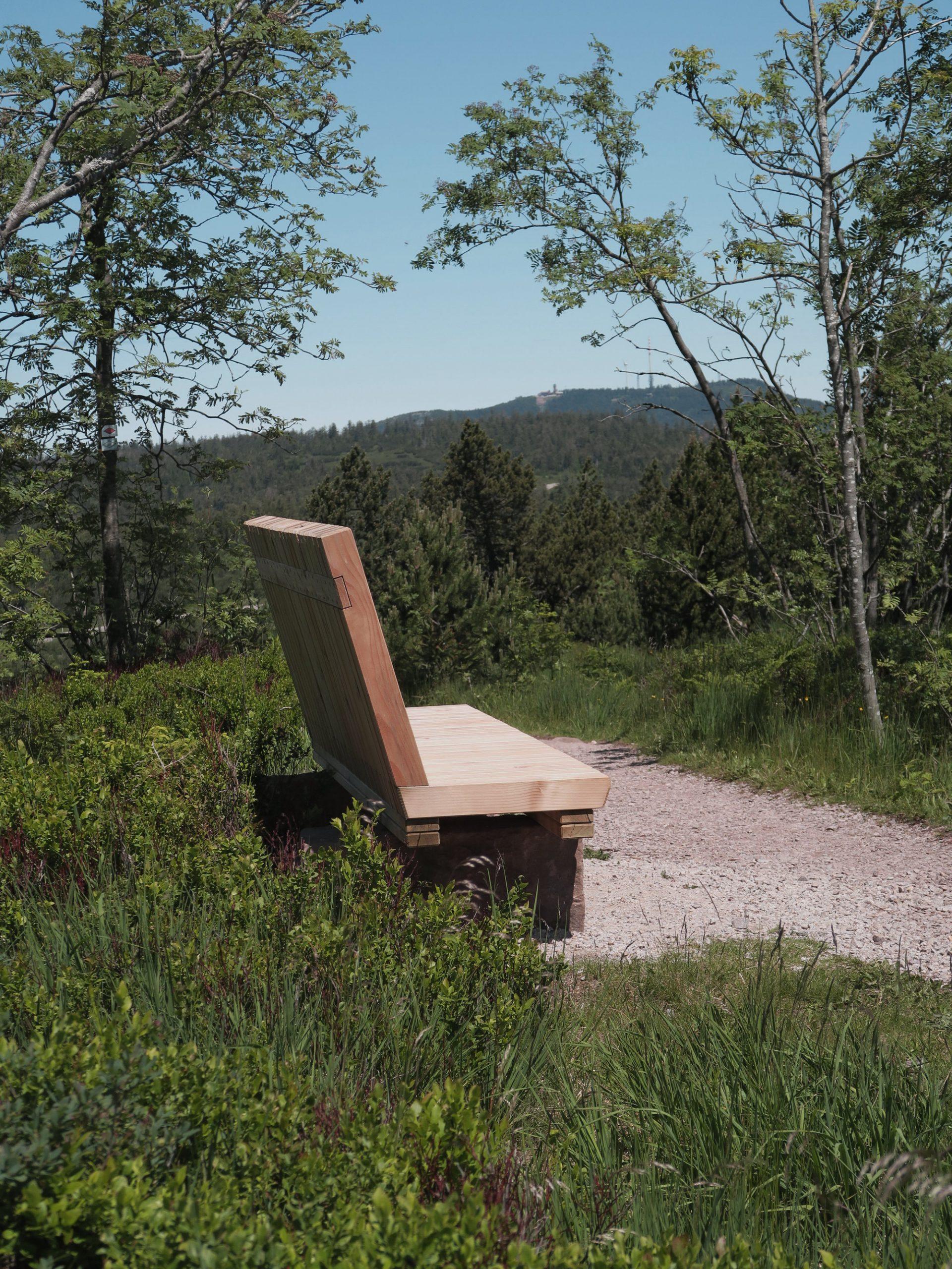 Ruhebank für müde Trekker im Schwarzwald