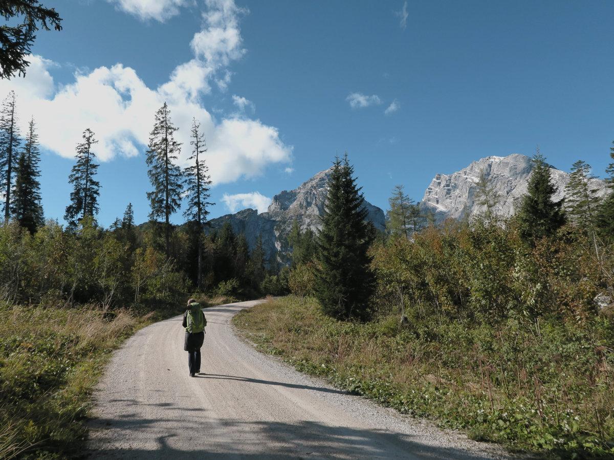 Aufstieg zur Kührointhütte mit Blick auf den Watzmann