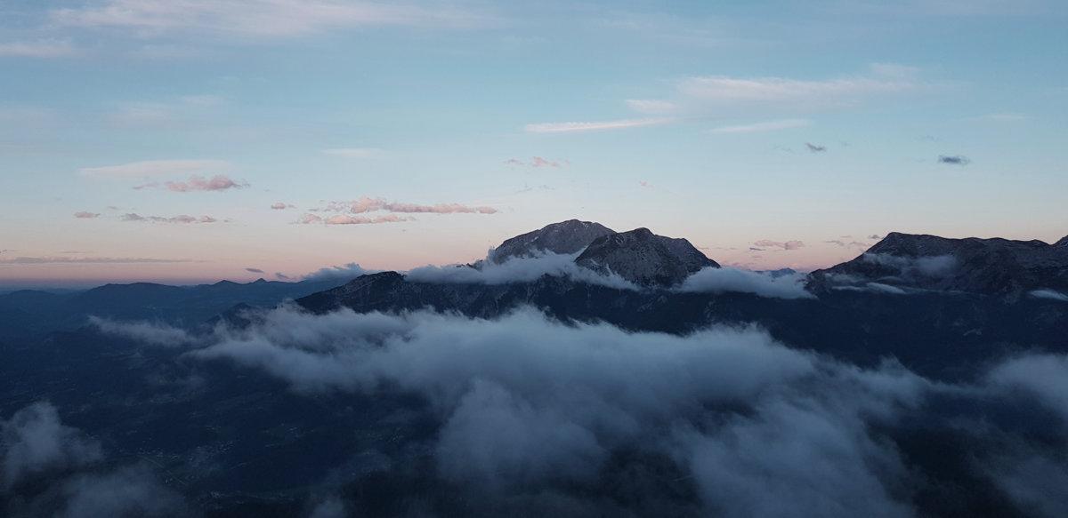 Sonnenuntergang am Watzmannhaus, Hüttentour Berchtesgadener Alpen