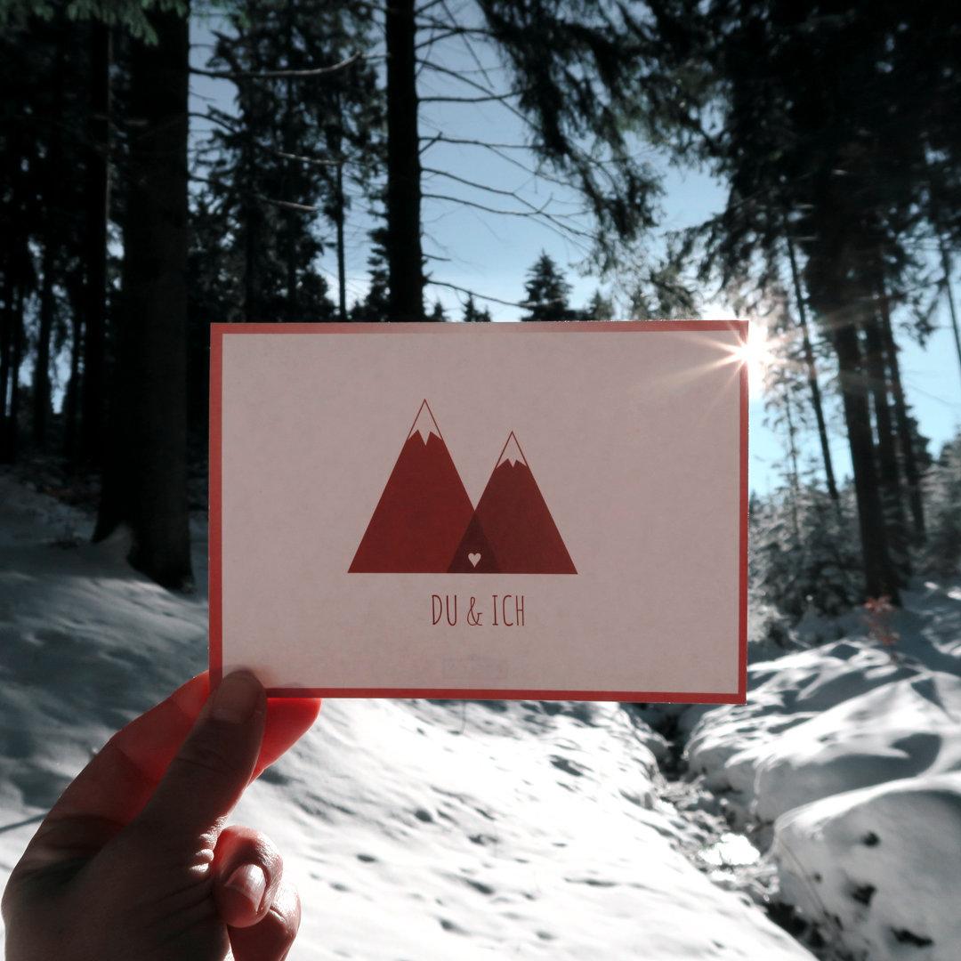 Ich und Du Postkarte Grußkarte Winter