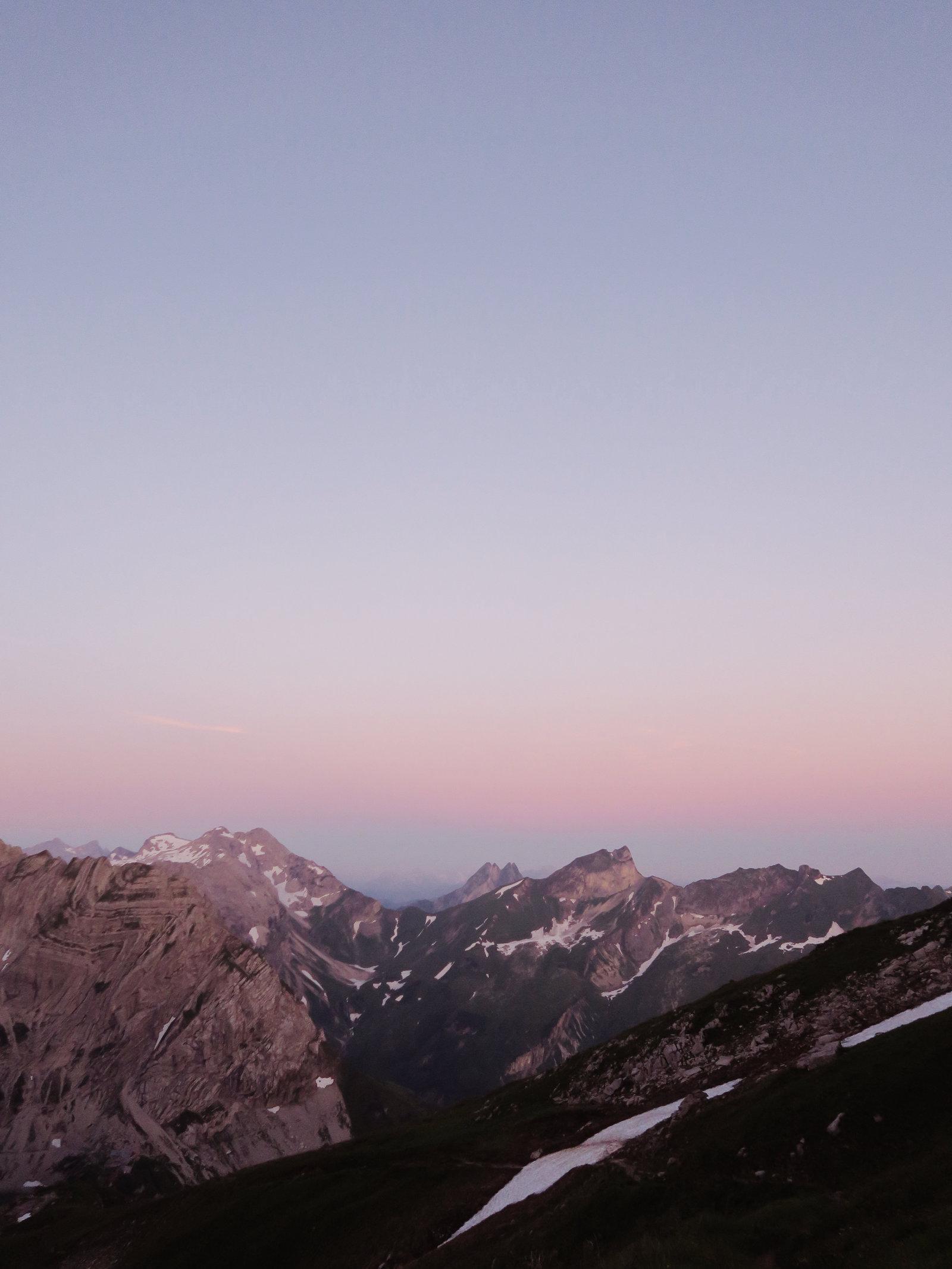 Alpenglühen an der Bockkarscharte